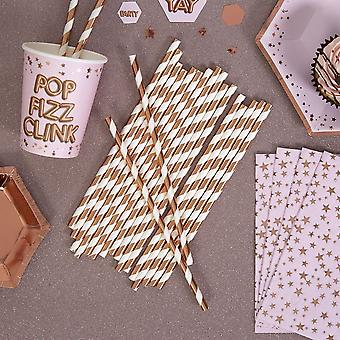 Paper Party Straws Rose Gold Foil Stripe x 25 / Partyware