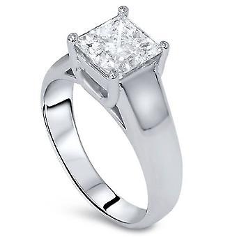 1 / 2ct Solitaire Princess Cut Diamond Engagement Ring 14k oro bianco