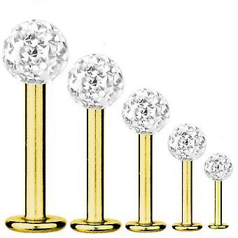 Bar di Labret trago Piercing titanio placcato oro 1,6 mm, Multi sfera di cristallo bianco   5-16 mm