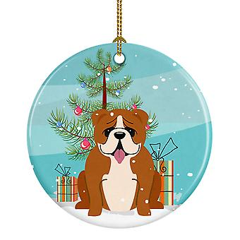 Merry Christmas Tree English Bulldog Red White Ceramic Ornament