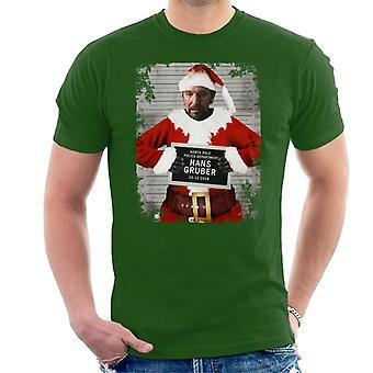 Christmas Mugshot Hans Gruber Men's T-Shirt