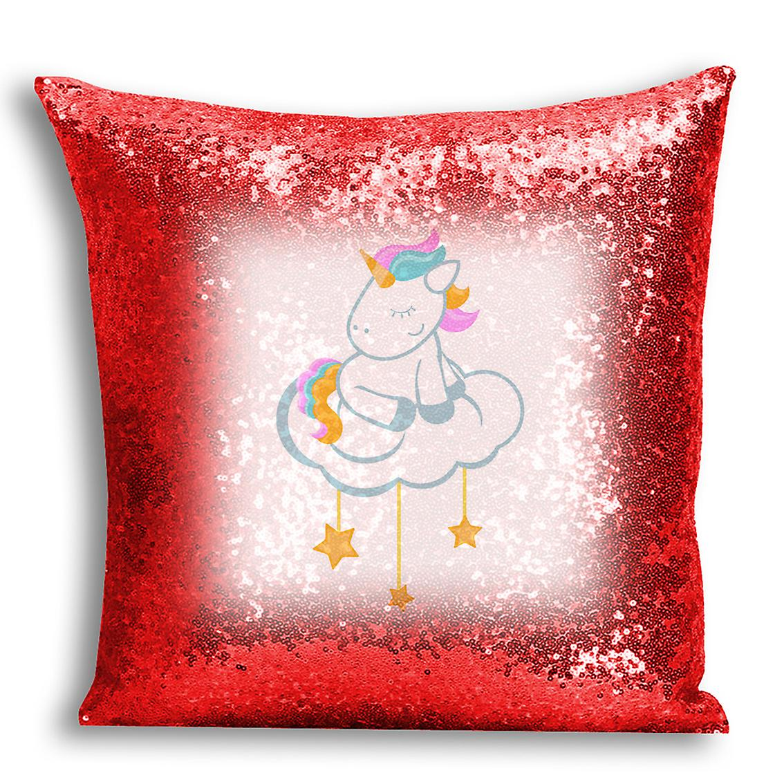 Red Sequin Inserted I For Cover tronixsUnicorn Printed 1 Design Decor With Home CushionPillow YDH9WIE2