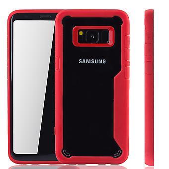 Rote Premium Samsung Galaxy S8 Hybrid-Editon Hülle | Unterstützt Kabelloses Laden | aus edlem Acryl mit weichem Silikonrand Rot