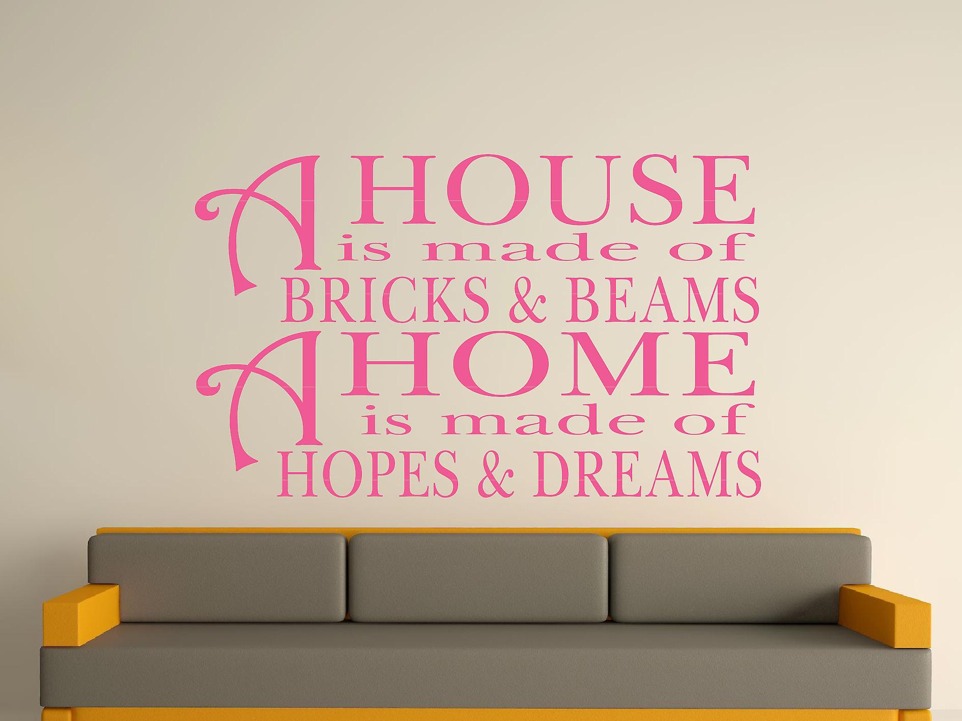 A House Is Made Of Bricks And Beams v2 Wall Art Sticker - Pink