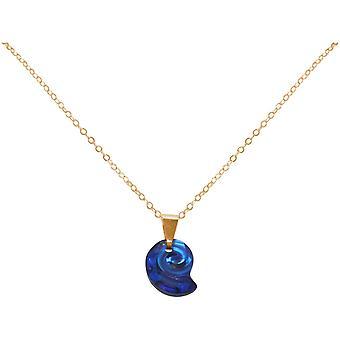 Gemshine Maritim Nautics Halskette mit Nautilus blauer Muschel MADE WITH SWAROVSKI ELEMENTS aus 925 Silber, hochwertig vergoldet oder rose Navy Stil – Made in Spain