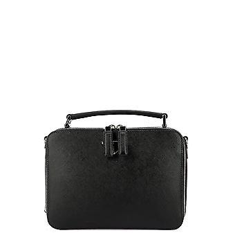 حقيبة جلدية سوداء برادا