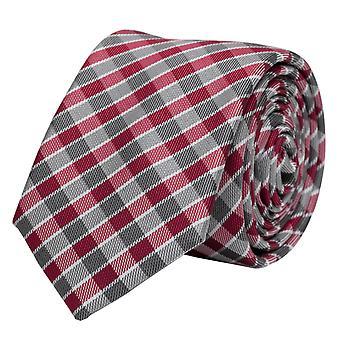 Schlips Krawatte Krawatten Binder 6cm weiß rot grau kariert Fabio Farini