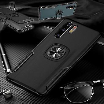 For Huawei P30 magnet metall ring hybrid tilfelle svart veske deksel tilfelle beskyttelse
