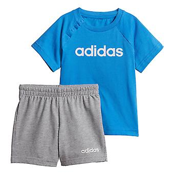 adidas Linear Infant Baby Toddler Boys Summer Outfit Set Blue/Grey