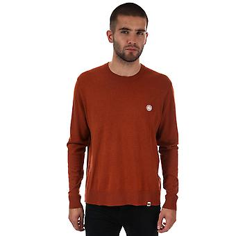 Mens Pretty Green Crew Neck Knitted Jumper In Orange