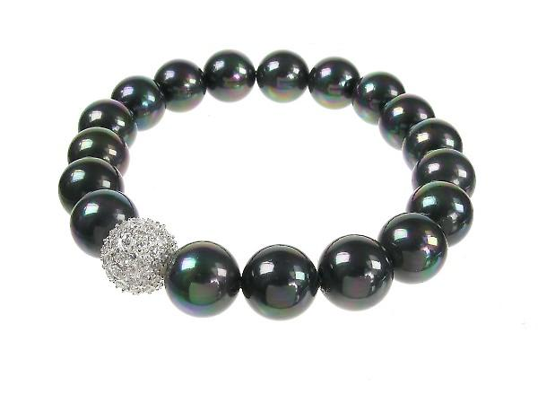Cavendish French CZ and Black Shell Pearl Bead Bracelet