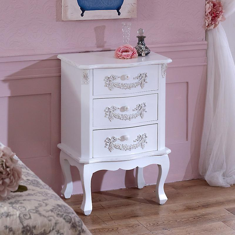 Antique blanc 3 Drawer Bedside Table - Pays blanc Range