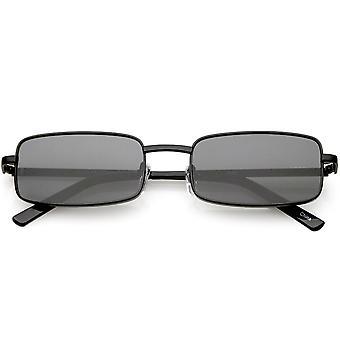 Klassisk små metall rektangelet solbriller nøytralt farget Flat linsen 54mm