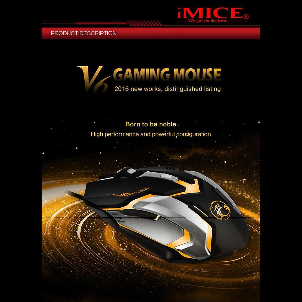 iMICE V6 Hög  USB 6knappar 3200 DPI Svart