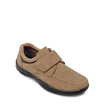 Mens Touch Fasten Shoe with Gel Pad