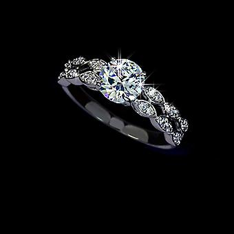18K White Gold Plated 1.25 Carat Swiss Cubic Zirconia Dual Layer Ring