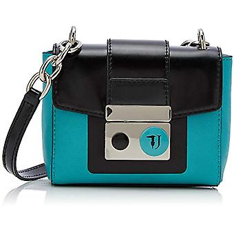 Tru Trussardi with Love Serigraphy Bicolor Woman Strap Bag Multicolored (Mint/Black) 15x136x1 cm (W x H x L)