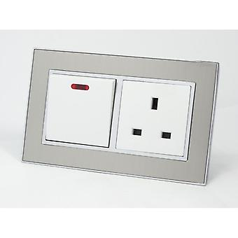 I LumoS AS Luxury Satin Silver Metal Double 20A Switch with Unswitched 13A UK Socket
