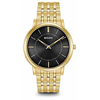Bulova Mens Ultra Slim Gold Tone Stainless Steel Black Dial 97A127 Watch