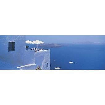 Building On Water Boats Fira Santorini Island Greece Poster Print