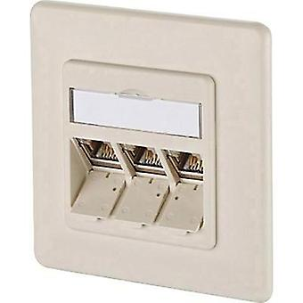 Network outlet Flush mount Insert with main panel and frame CAT 6A 3 ports Metz Connect 1309131001-E Pearl white