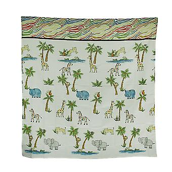 Blue Safari Hippo Rainbow Zebra Striped Fabric Shower Curtain 70 X 72 Inch
