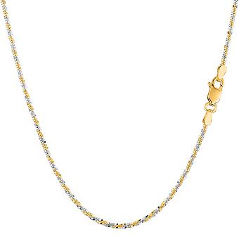 14k 2 Tone Yellow & White Gold Sparkle Chain Necklace, 1.5mm