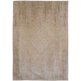 Distressed Beige Cream Medallion Flatweave Rug 140 x 200 - Louis de Poortere