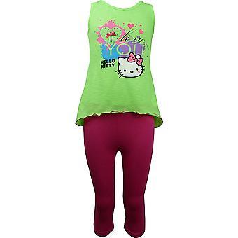 Mädchen Hallo Kitty ärmelloses T-shirt / Top & 3/4 Leggings Satz