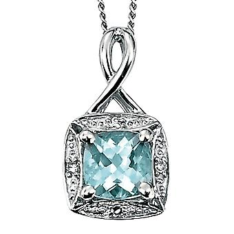 9 CT White Gold With Aquamarin And Diamond Necklace