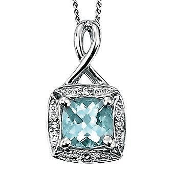 9 CT białego złota Aquamarin i naszyjnik Diamond