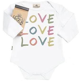 Spoilt Rotten LOVE LOVE LOVE Organic Baby Grow In Gift Milk Carton