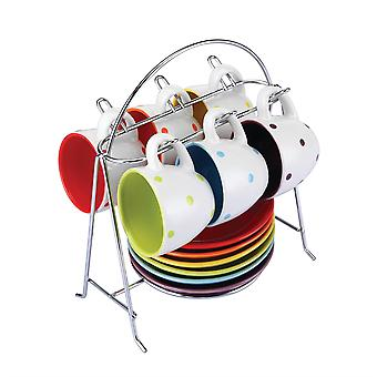 Colours 6pc Spots Espresso Cups And Saucers Set With Stand 80ml Tea Coffee