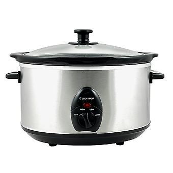 Lloytron E818 3.5L Electric Food Slow Cooker Ceramic Crock Pot Brushed Steel