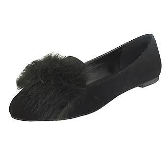 Ladies Spot On Fur Trim Vamp Ballerinas F80315