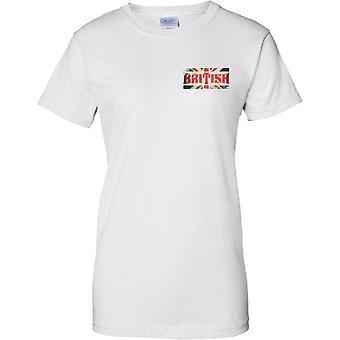 Grunge britânico país nome bandeira efeito - União Jack - senhoras peito Design t-shirt