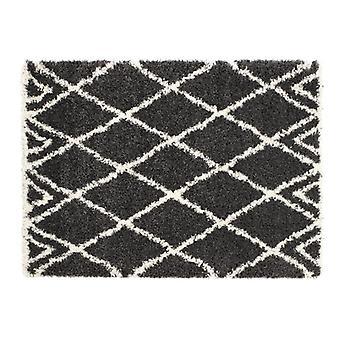 Tapis Diamond Charcoal Ivoire Rectangle tapis Plain/presque plaine Shaggy luxe