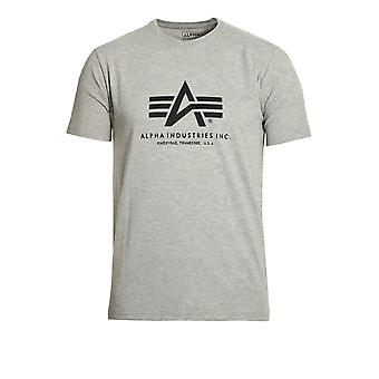 ALPHA INDUSTRIES Basic Heather Grey Cotton Logo T-Shirt