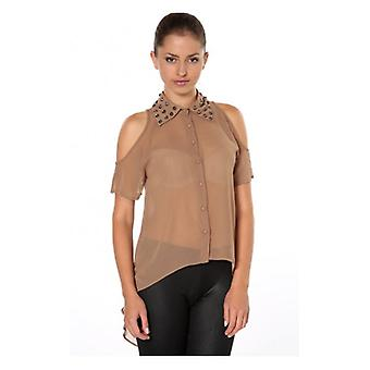 The Fashion Bible Lois Studded Collar Blouse In Brown