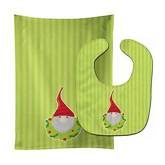 Carolines Treasures  BB8785STBU Christmas Gnome Flowers Baby Bib & Burp Cloth