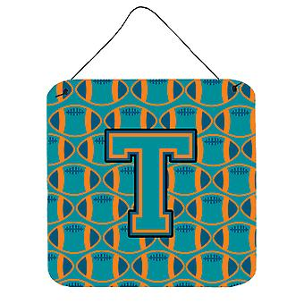 Letter T Football Aqua, Orange and Marine Blue Wall or Door Hanging Prints