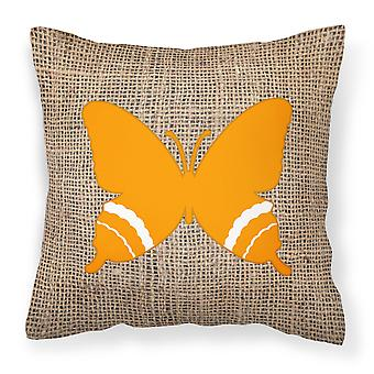 Butterfly Burlap and Orange   Canvas Fabric Decorative Pillow BB1034