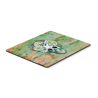 Day of the Dead Skull with Flowers Mouse Pad, Hot Pad or Trivet