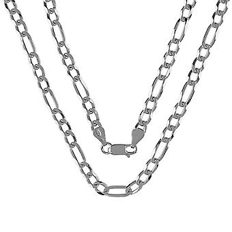 Fine Sterling Silver 925 Unisex Womens Mens Figaro Solid Chain Necklace Width 5mm