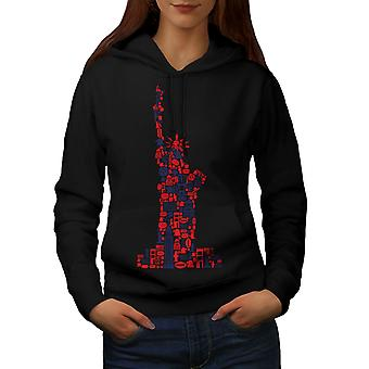 New York Statue Freedom Women BlackHoodie | Wellcoda