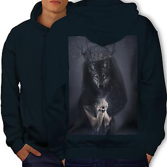Wolf King Beast Animal Men NavyHoodie Back | Wellcoda
