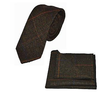 Luxury Mahogany Herringbone Check Tie & Pocket Square Set, Tweed