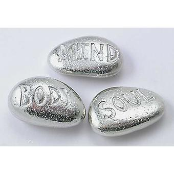 Mind Body Soul - Pewter Pebbles  Set of 3