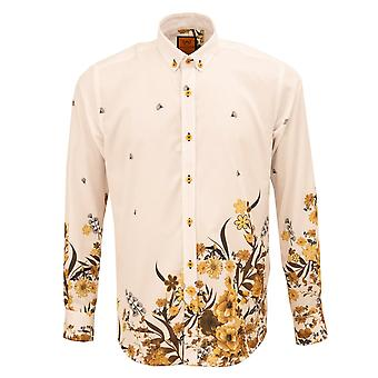 Oscar Banks  Floral Placement Print Regular Fit Mens Shirt