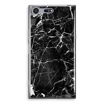 Sony Xperia XZ Premium Transparent Case (Soft) - Black Marble 2